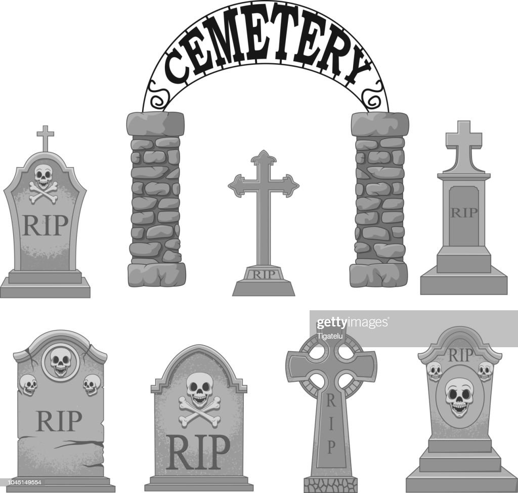 Cartoon gravestones collection set