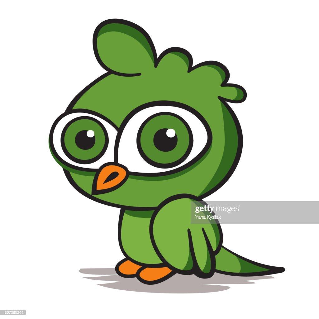 Cartoon green parrot on white background. Vector illustration.