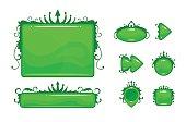 Cartoon green vector abstract game assets set