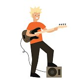 Cartoon Guitar Player. Vector