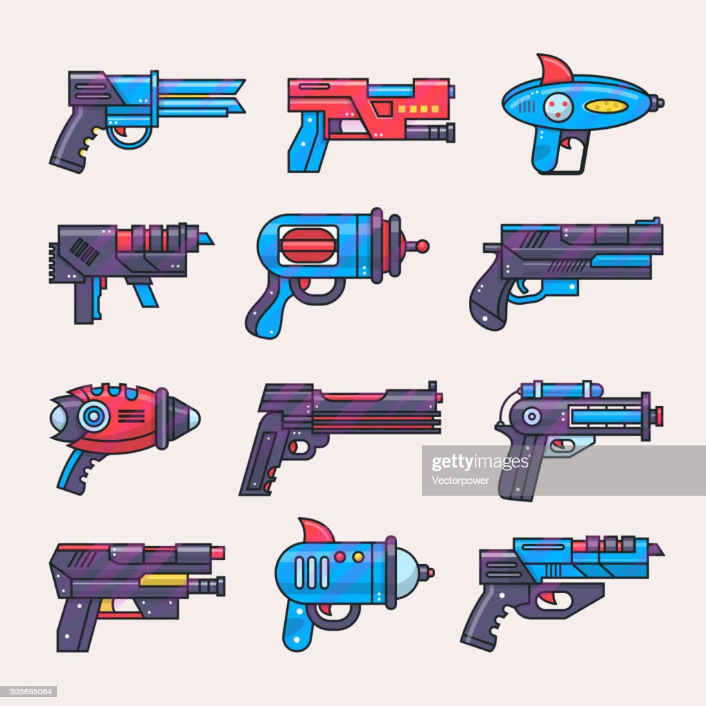 Cartoon gun vector toy blaster for kids game with futuristic handgun and raygun of aliens in space illustration set of child pistols and laser weapon isolated on white background