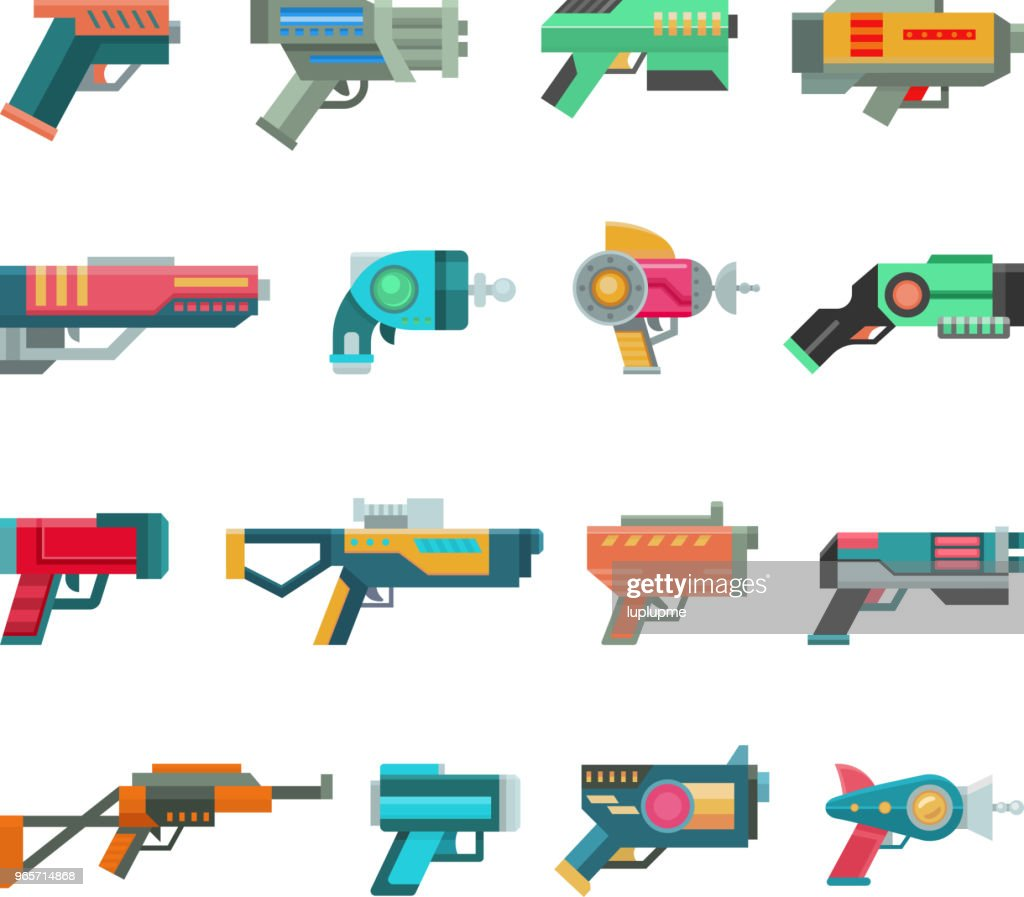 Cartoon gun vector toy blaster for kids game with futuristic handgun and children raygun of aliens in space illustration set of child pistols and laser weapon isolated on white background