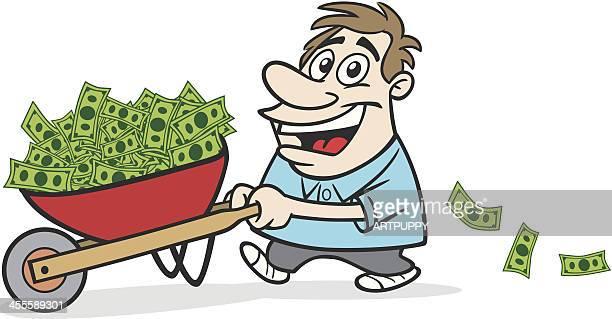 cartoon guy carrying wheelbarrow full of money - wheelbarrow stock illustrations, clip art, cartoons, & icons