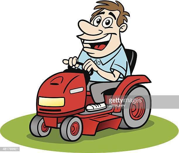 Cartoon Guy Driving Ride On Mower