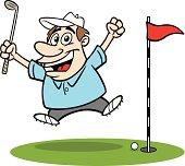 Cartoon Guy Golfing
