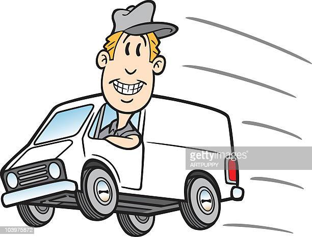 Cartoon Guy In Delivery Van