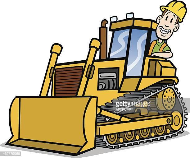 Cartoon Guy On Bulldozer