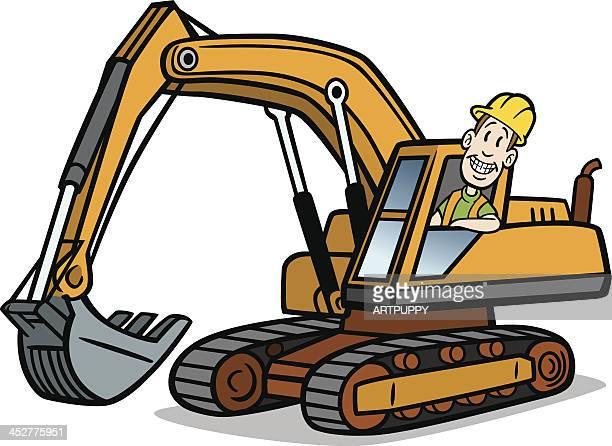 Cartoon Guy On Excavator