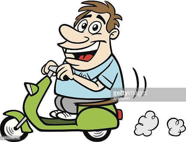 cartoon guy on scooter - moped stock illustrations, clip art, cartoons, & icons
