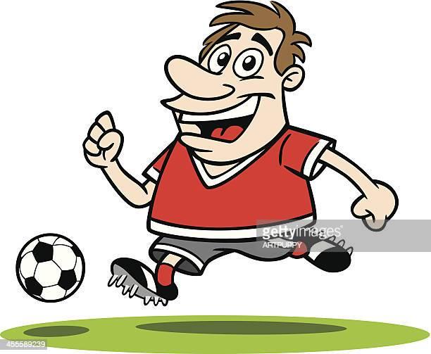 cartoon guy playing soccer - sports organization stock illustrations, clip art, cartoons, & icons