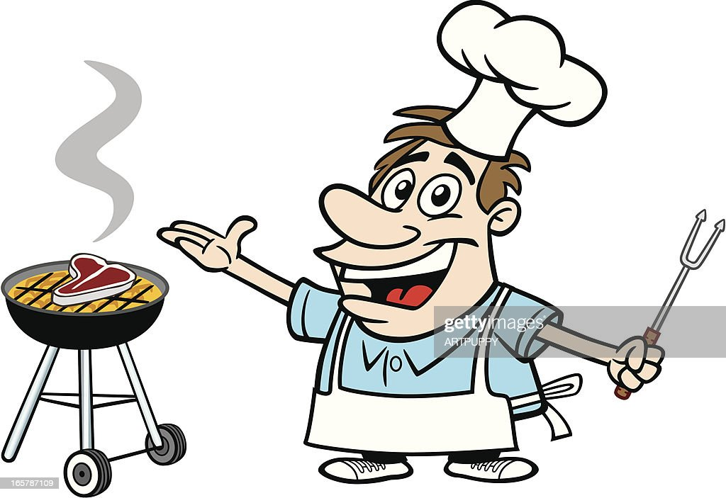 cartoon guy with bbq vector art getty images