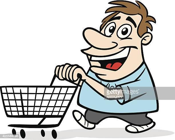 cartoon guy with shopping cart - money to burn stock illustrations, clip art, cartoons, & icons
