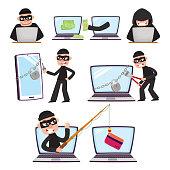 Cartoon hackers using laptop, stealing money