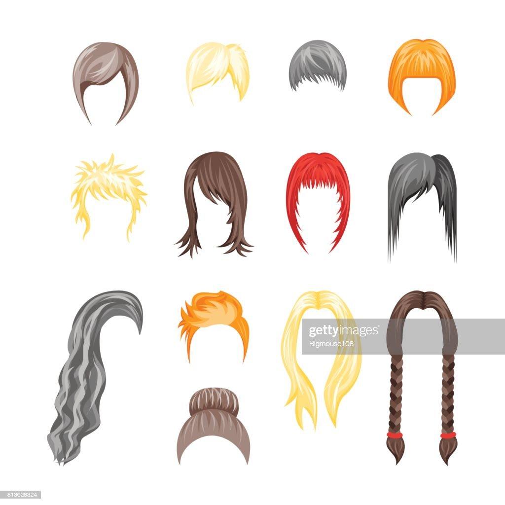 Cartoon Hairstyles Woman Set. Vector