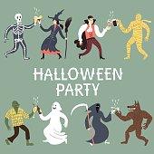 Cartoon halloween characters set.