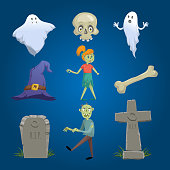 Cartoon halloween icons set. Ghosts, skull, withc hat, zombie girl and zombie man, bone, tombstones.