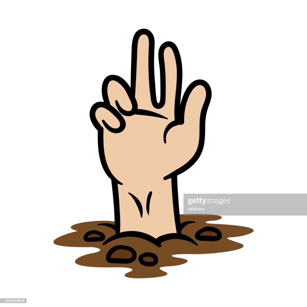 Cartoon Hand Coming Out of the Ground