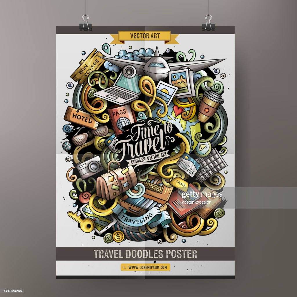 Cartoon hand drawn doodles Traveling poster design