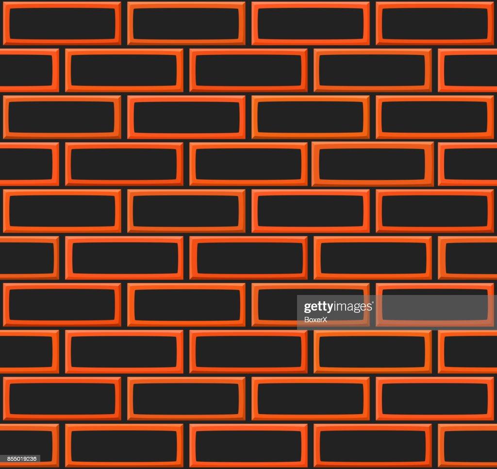Cartoon Hand Drown Realistic Balck And Orange Seamless Brick