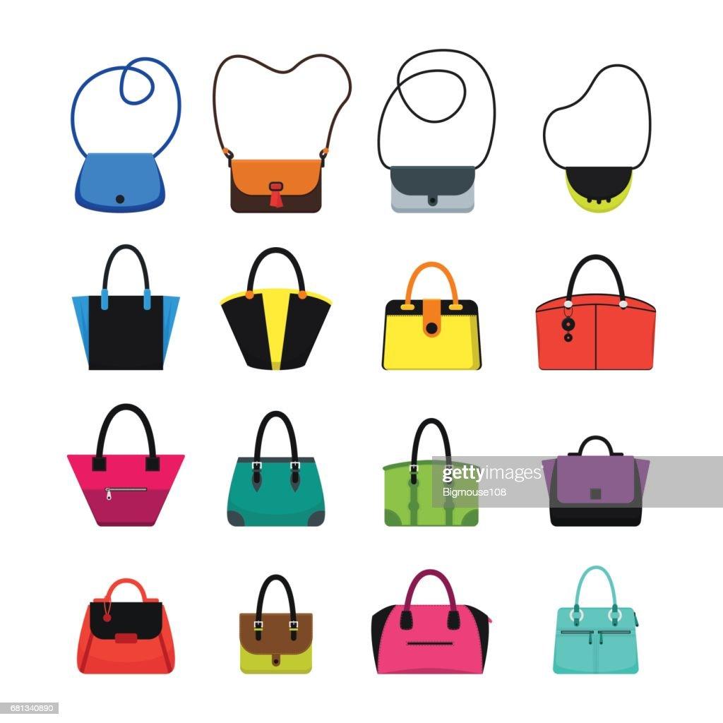 Cartoon Handbag or Female Bags Color Icons Set. Vector