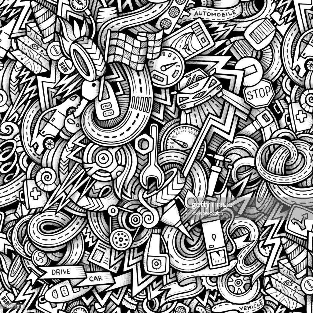 Cartoon hand-drawn doodles car style theme seamless patern