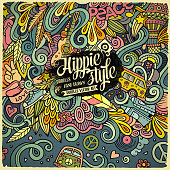 Cartoon hand-drawn doodles hippie illustration