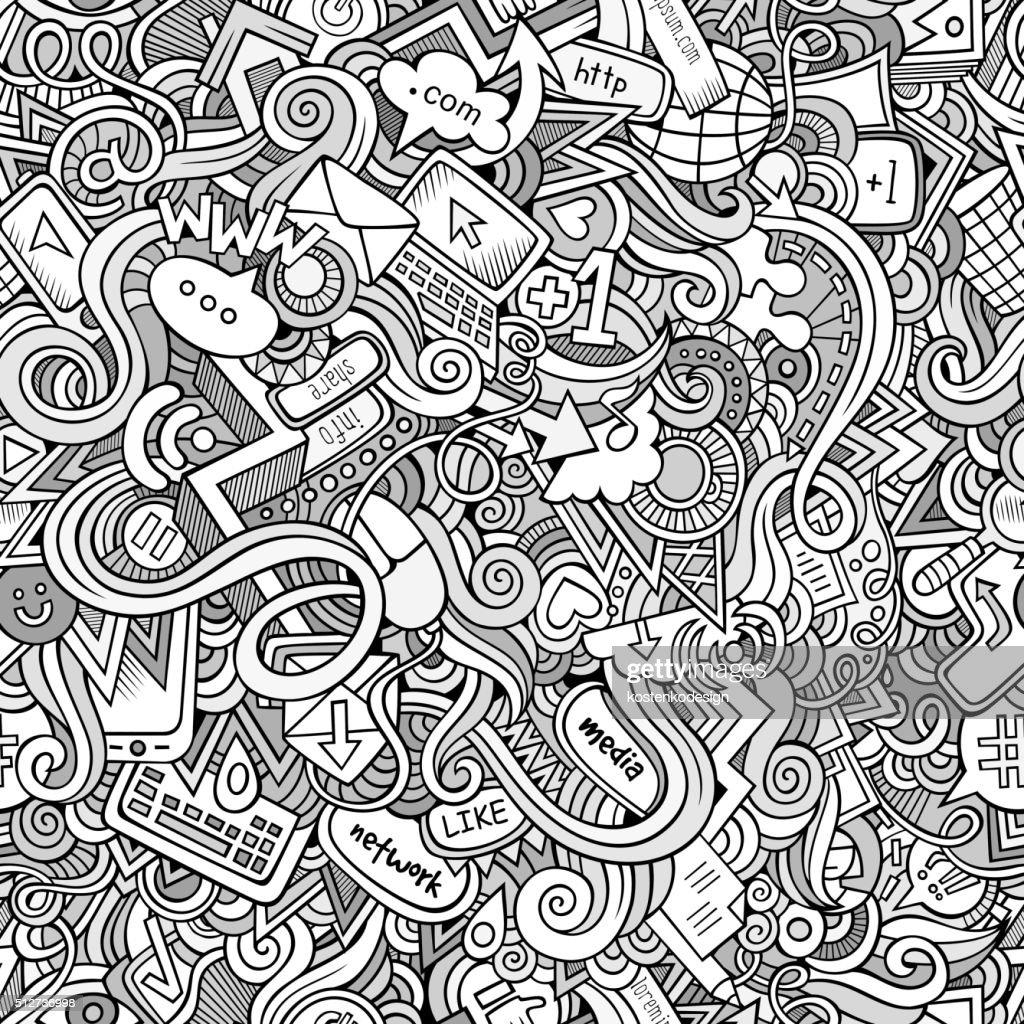 Cartoon hand-drawn doodles Internet social seamless pattern