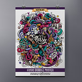 Cartoon hand-drawn doodles Musical poster
