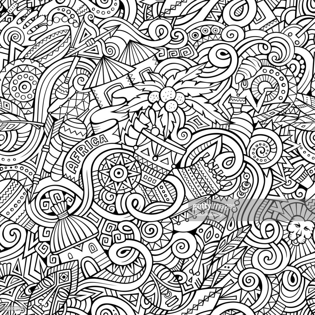 Cartoon hand-drawn doodles on the subject of Africa style theme