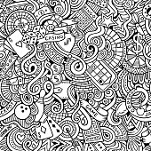 Cartoon hand-drawn doodles on the subject of casino style