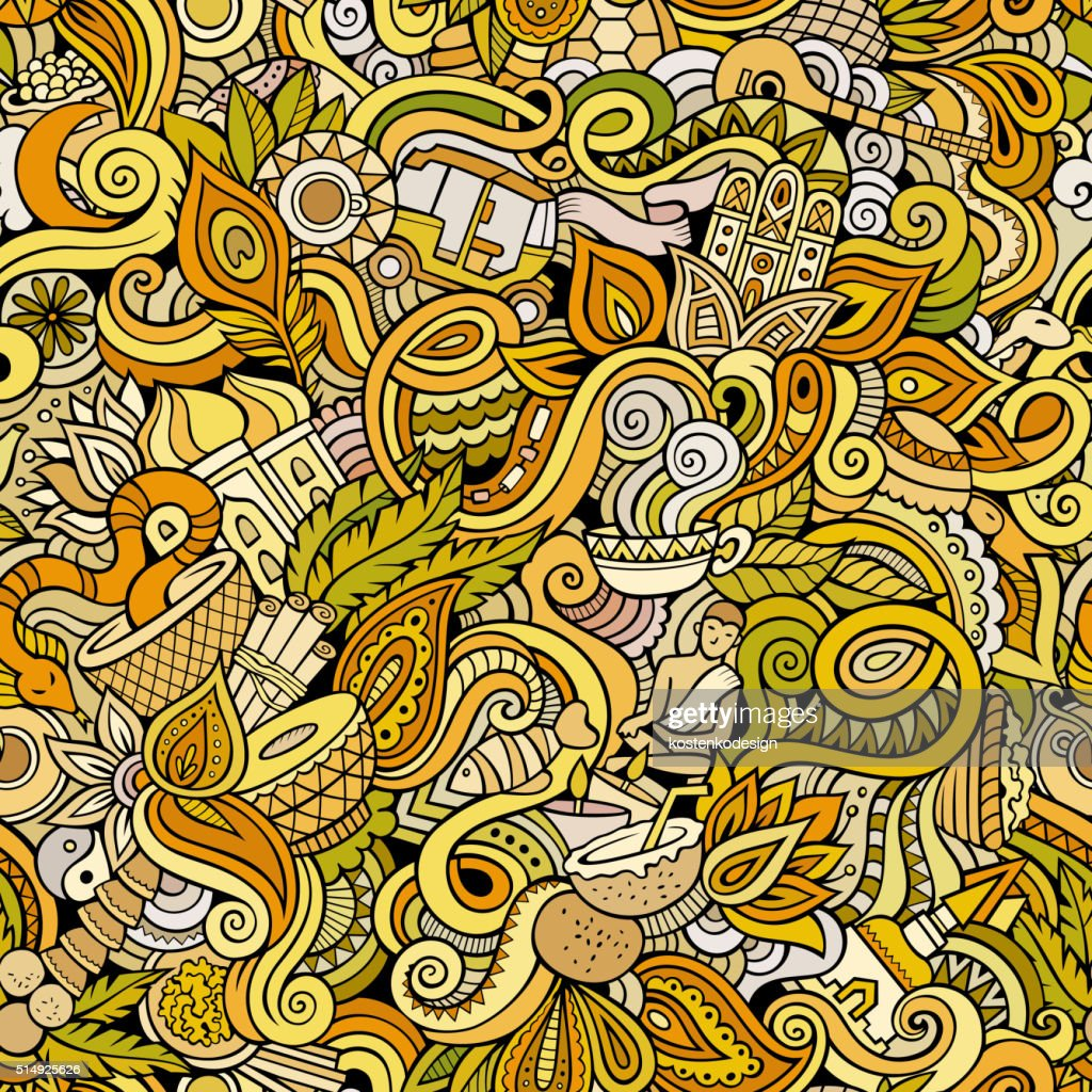 Cartoon hand-drawn doodles on the subject of Indian seamless pattern