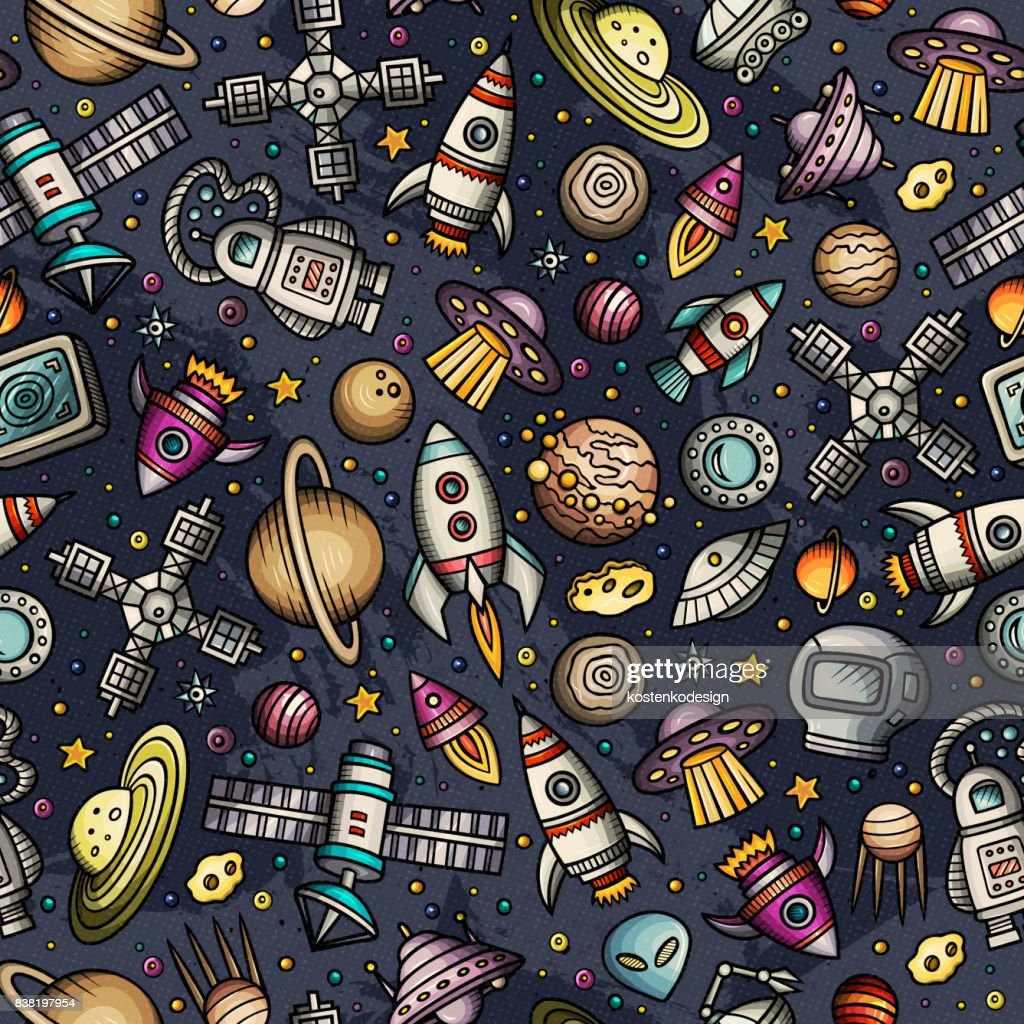 Cartoon hand-drawn space, planets seamless pattern