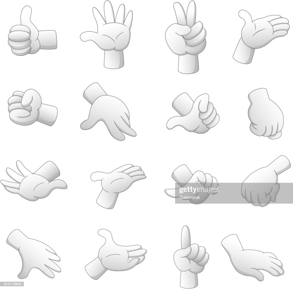Cartoon hands isolated on white background