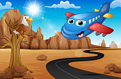 Cartoon happy airplane with eagle on tree and Empty road in the desert