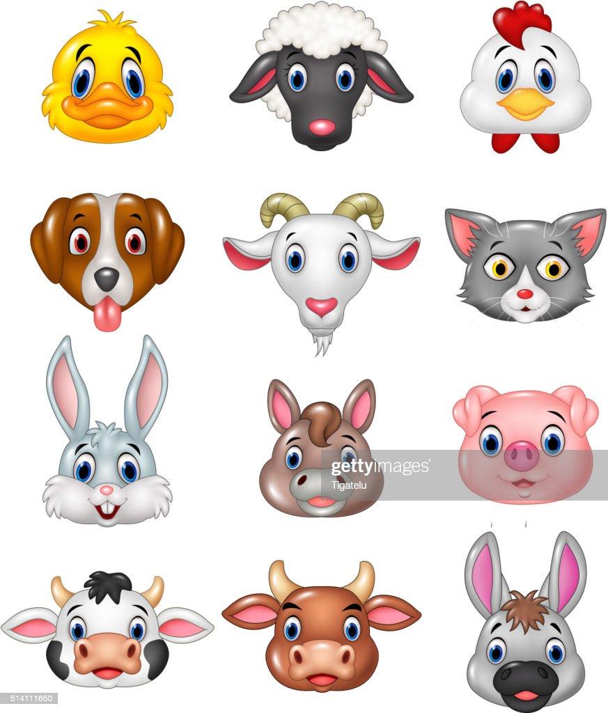 Cartoon happy animal head collection