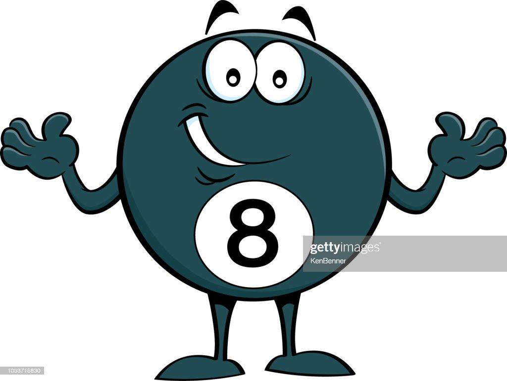 Cartoon happy billiard eight ball.
