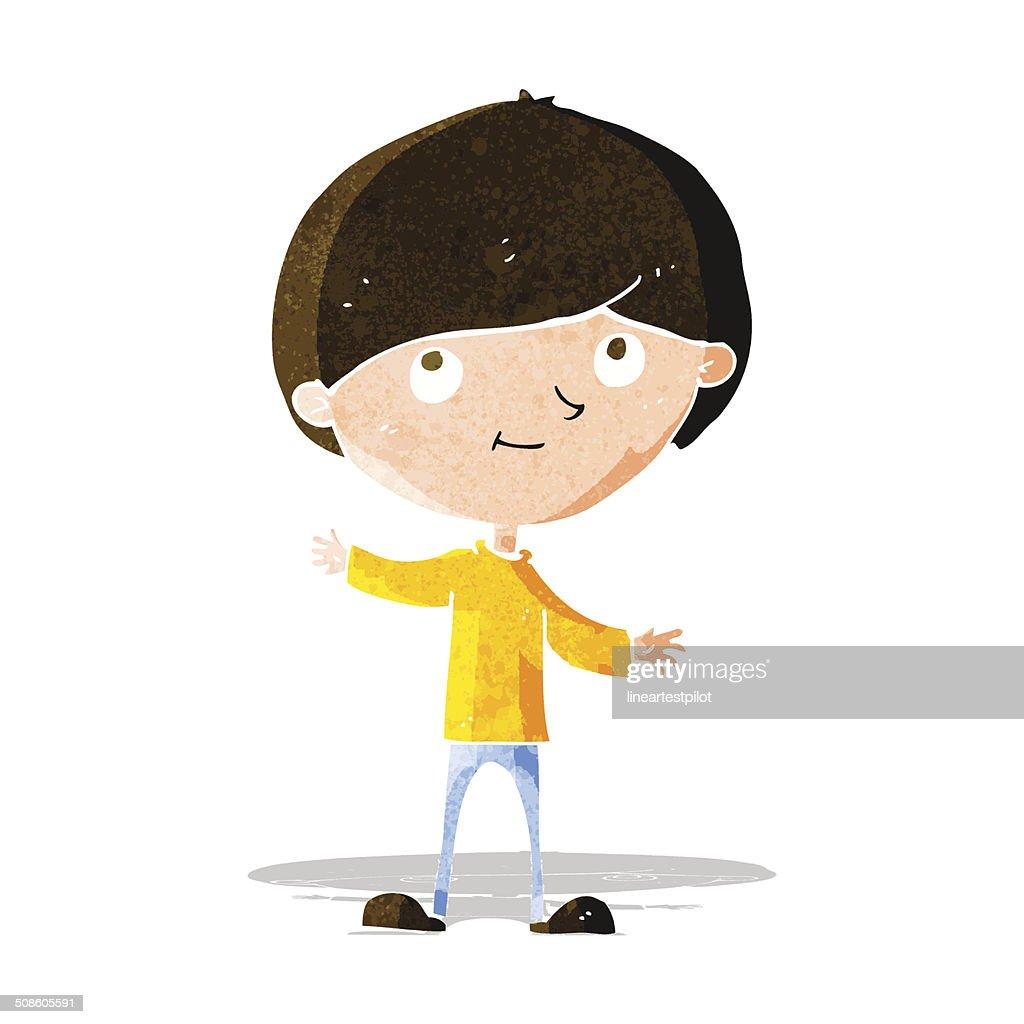 Niño feliz de historieta : Arte vectorial