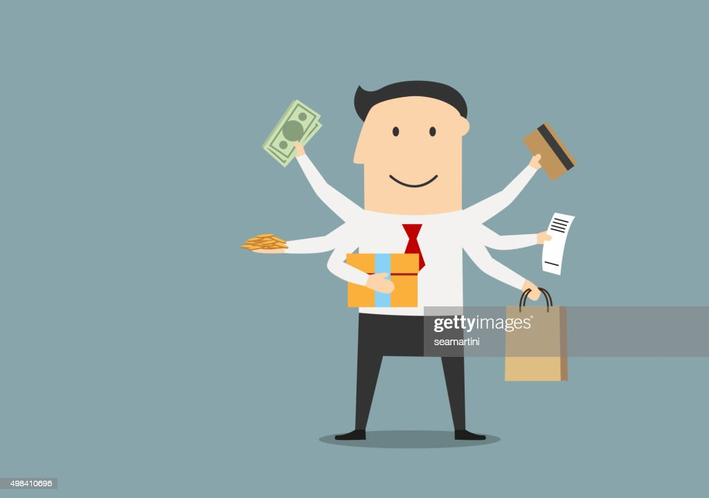 Cartoon happy businessman after shopping