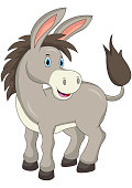 Cartoon happy donkey isolated on white background