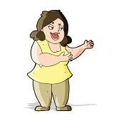 cartoon happy fat woman