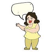cartoon happy fat woman with speech bubble