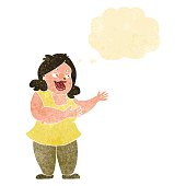 cartoon happy fat woman with thought bubble