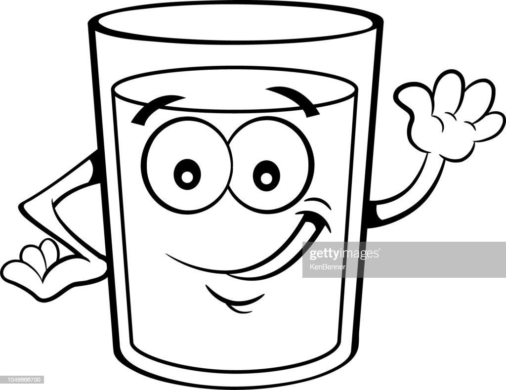 Cartoon happy glass of liquid waving.