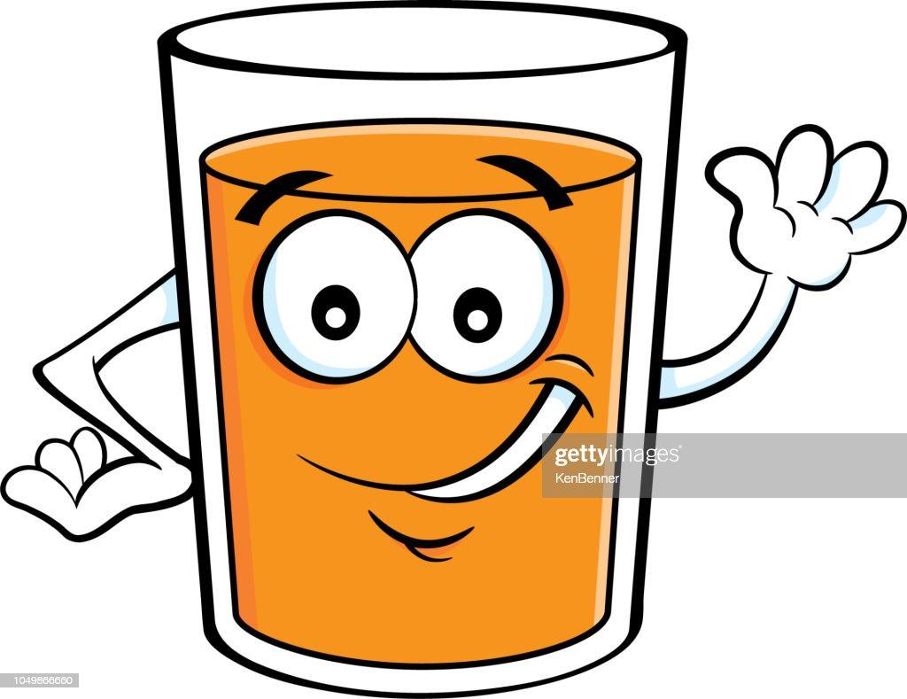 Cartoon happy glass of orange juice waving.