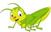 Cartoon happy grasshopper