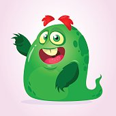 Cartoon happy monster alien. Vector illustration