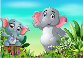 Cartoon happy mother and baby elephant in the park