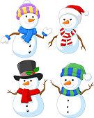 Cartoon happy snowman collection set