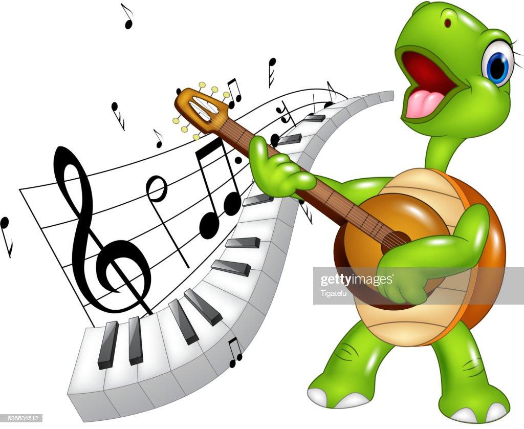 Cartoon happy turtle singing with piano keyboard