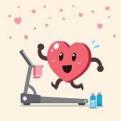 Cartoon heart character running on treadmill